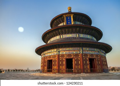 Temple of Heaven in Beijing at sunset at full moon, China