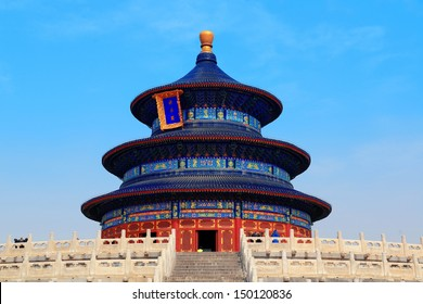 Temple of Heaven with blue sky in Beijing
