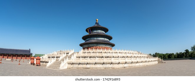 Temple of Heaven(Tiantan) in Beijing, China. Panorama view. Translation: Prayer hall (name of this temple).