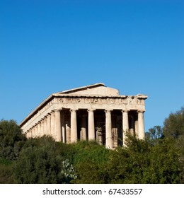 Temple of Hephaestus under Acropolis of Athens Greece, space for typing