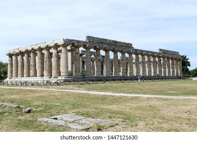 The temple of Hera, (Basilica), is the oldest of the three great buildings, it belongs to the first generation of the great stone temples, begun around 560 BC. Paestum, Salerno, Italy