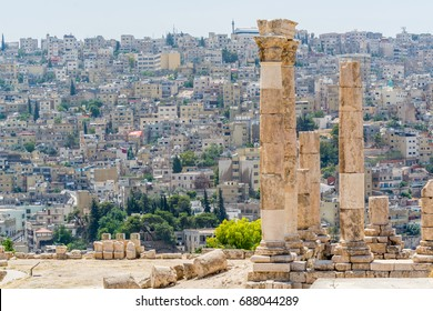 Temple of Hercules in the Amman Citadel, a historical site at the center of downtown Amman, Jordan. Known in Arabic as Jabal al-Qal'a, one of the seven jabals(mountains) that originally made up Amman