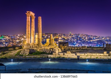 Temple of Hercules at Amman Citadel in Amman, Jordan.