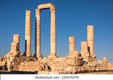 The Temple of Hercules bathed by late afternoon sunlight, Amman Citadel, Amman, Jordan