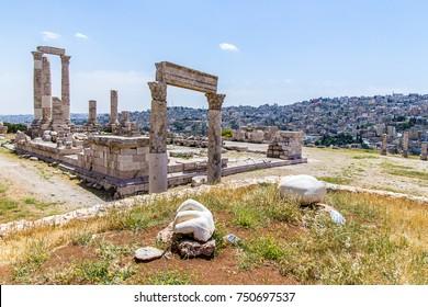 Temple of Hercules and the hand, at the Amman Citadel, Amman, Jordan