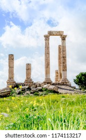 Temple of Hercules on the Amman citadel (Jabal al-Qal'a), in spring and nice cloudy sky