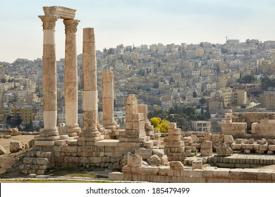 Temple of Hercules on the Amman citadel with city view, Jordan