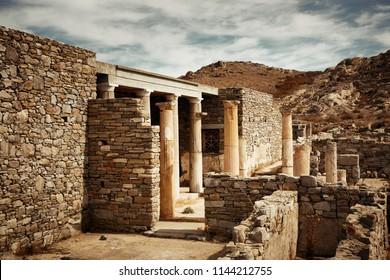 Temple in Historical Ruins in Delos Island near Mikonos, Greece.