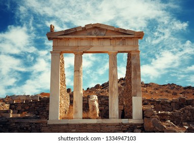 Temple in Historical Ruins in Delos Island near Mikonos, Greece.