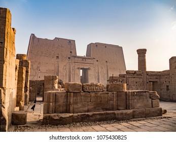 Temple of Horus in Edfu Egypt during sunset