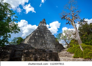 Temple I, El Gran Jaguar one of the mayor structures at Tikal, Guatemala. This structure is a funerary temple located on the Great Plaza.