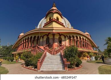 Temple of International Society for Krishna Consciousness (ISKON)- Gaudiya Vaishnava Hindu religious organisation,at Mayapur near Nabadwip, West Bengal,India. It is birthplace of Chaitanya Mahaprabhu.