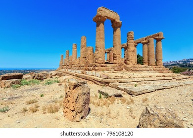 Temple of Juno in famous ancient Greece Valley of Temples, Agrigento, Sicily, Italy. UNESCO World Heritage Site.