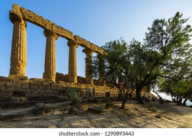 Temple of Juno (Giunone) lighted by late afternoon sunset, Valle dei Templi (Valley of the Temples), Agrigento, Sicily, Italy