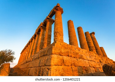 The Temple of Juno in the Valley of the Temples at Agrigento - Sicily, Italy.