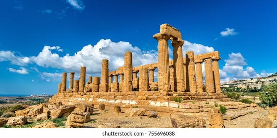 The Temple of Juno in the Valley of the Temples at Agrigento - Sicily, Italy