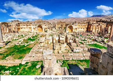 The Temple of Jupiter (Roman Heliopolis) in Baalbek, Lebanon. Baalbek is famous Lebanon landmark