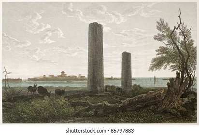 Temple of Jupiter ruins, Syracuse, Sicily. Created by De Wint and Wallis, printed by McQueen, publ. in London, 1821. Ed. on Sicilian Scenery, Rodwell and Martins, London, 1823