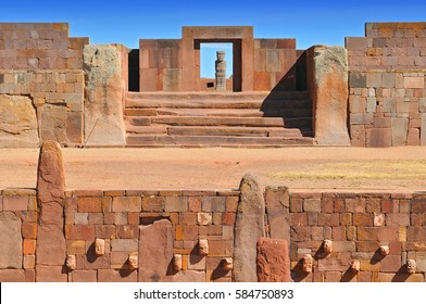 Temple Kalasasaya, an important pre Columbian Archaeological Site in Tiwanaku, Bolivia.