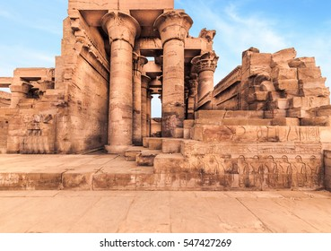 Temple of Kom Ombo. It's dedicated to the crocodile god Sobek and the falcon god Haroeris, Kom Ombo, Egypt, North Africa