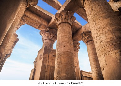 Temple of Kom Ombo, Kom Ombo, Egypt. It's dedicated to the crocodile god Sobek and the falcon god Haroeris