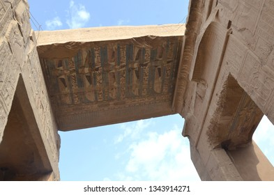 The Temple of Kom Ombo is an unusual double temple in the town of Kom Ombo in Aswan Governorate, Upper Egypt. Beautiful carving and hieroglyph on the ceiling.