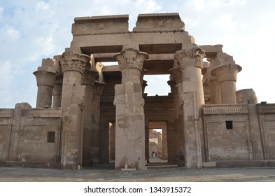 The Temple of Kom Ombo is an unusual double temple in the town of Kom Ombo in Aswan Governorate, Upper Egypt. It was constructed during the Ptolemaic dynasty, 180–47 BC.