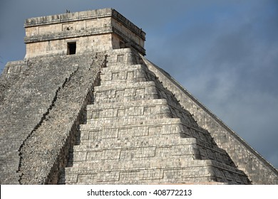Temple of Kukulkan, pyramid in Chichen Itza, Yucatan, Mexico. This step pyramid is about 30 metres (98 ft) high and consists of 9 square terraces, with a temple upon the summit.