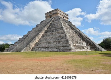 Temple of Kukulkan, pyramid in Chichen Itza, Yucatan, Mexico. This step pyramid is about 30 metres high and consists of 9 square terraces, each 2.57 metres high, with a 6-metre temple at the summit.