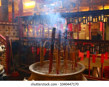 Temple, lanterns and incense