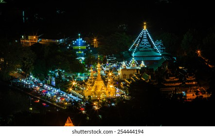 Temple light in the night