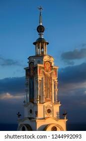 Temple lighthouse of St. Nicholas the Wonderworker on the coast in Crimea
