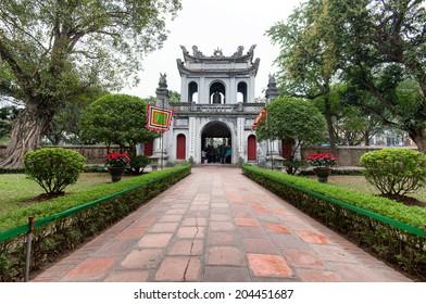Temple of Literature in Hanoi, Vietnam. The entrance gate