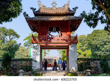 The Temple of Literature Van Mieu in Hanoi, Vietnam and chinese pagoda.