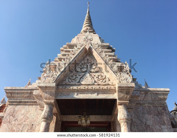 The Temple made by Marble Stone and old architecture.sakonnakhon thailand
