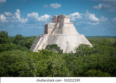 Temple of the Magician - Mayan ruins of Uxmal, Mexico, Yucatan peninsula