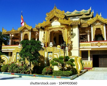 Temple at Mahamuni Pagoda complex in Mandalay, Myanmar. Mahamuni Pagoda is a Buddhist temple and major pilgrimage site in Myanmar.