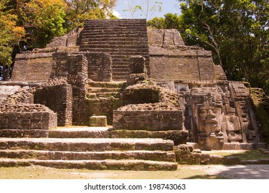 The temple of the mask in the Mayan city of Lamanai in Belize, Central America