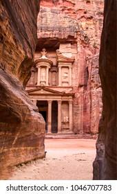 Temple mausoleum of El-Khazneh in Petra, Jordan