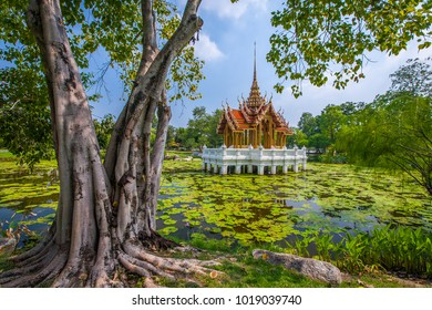 A temple in a middle of a lotus pond, Rama 9 Park, Thailand