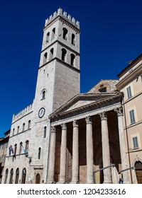 The Temple of Minerva and Accompanying Clock Tower in the Piazza del Commune in Assisi, Italy