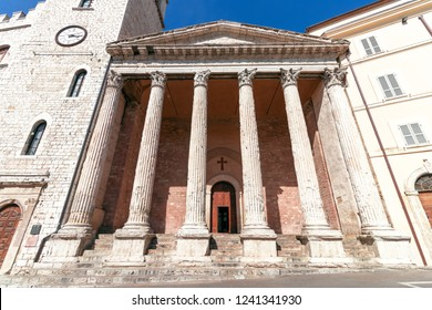 Temple of Minerva (Chiesa di Santa Maria sopra Minerva)  a Unesco world heritage in Assise, Umbria, Italy