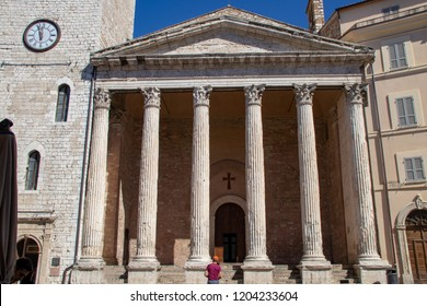 The Temple of Minerva on the Piazza del Commune in Assisi, Italy