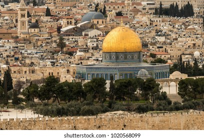 Temple Mount with Dome of the Rock and old town of Jerusalem with many christian churches, Israel