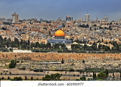 The Temple Mount and the golden Dome of the Rock in the old city of Jerusalem, Israel. HDR image.