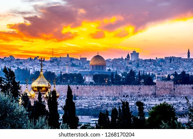Temple Mount and the Mount of Olives at sunset