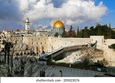 Temple Mount, West Wall and Dome of the Rock mosque in Jerusalem, Israel