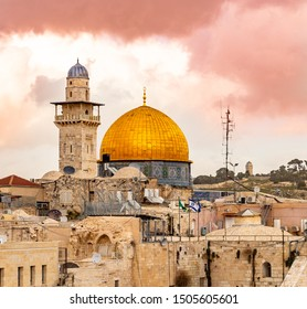 Temple Mount ,Western Wall and the golden Dome of the Rock mosque in the old city of Jerusalem, Israel