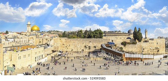 The Temple Mount - Western Wall and the golden Dome of the Rock mosque in the old city of Jerusalem, Israel