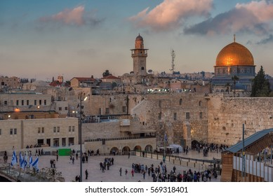 Temple Mount, Western Wall and golden Dome of the Rock, Jerusalem, Israel.